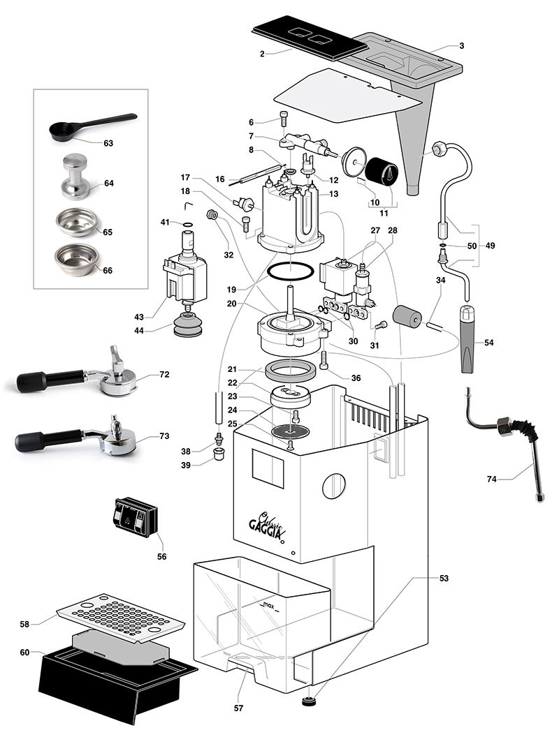 gaggia classic spare parts diagram  exploded diagram  the espresso shop
