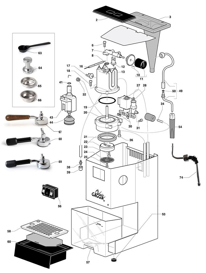 gaggia classic spare parts diagram exploded diagram the espresso shop rh theespressoshop co uk Gaggia Classic vs Rancilio Silvia Gaggia Classic Portafilter