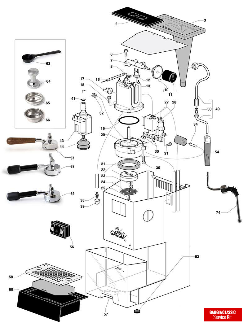 gaggia classic spare parts diagram  exploded diagram  the