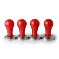 Concept-art Flat Stainless Tamper Red Aluminium Handle - 49mm, 51mm, 53mm & 58mm