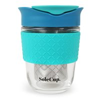 SoleCup 3-In-1 Reusable 12oz Glass Cup With Silicone Band, Filter & Infuser - Blue - BLUFUL1