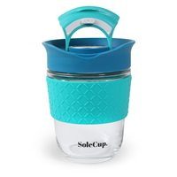 SoleCup Reusable 12oz Glass Coffee Cup With Silicone Band - Blue