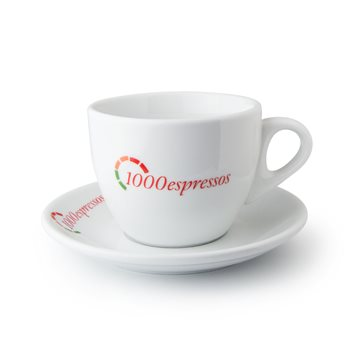 1000espressos 8oz 230ml Cappuccino Cup & Saucer x12  - Click to view a larger image