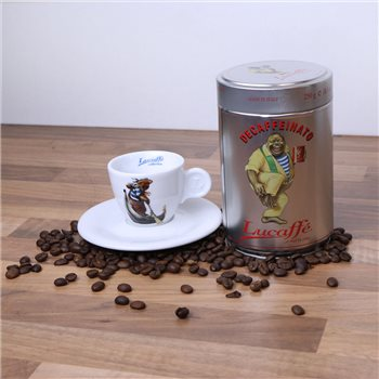 Lucaffe Decaf Coffee Beans & Espresso Cup  - Click to view a larger image