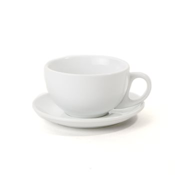 Athena White 10oz Cappuccino Cups and Saucers x 12  - Click to view a larger image